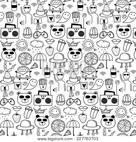 Pattern With Line Hand Drawn Doodle Lovely Vector Background For Kid. Doodle Funny. Handmade Vector