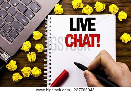 Conceptual Hand Writing Text Caption Live Chat . Business Concept For Communication Livechat Written