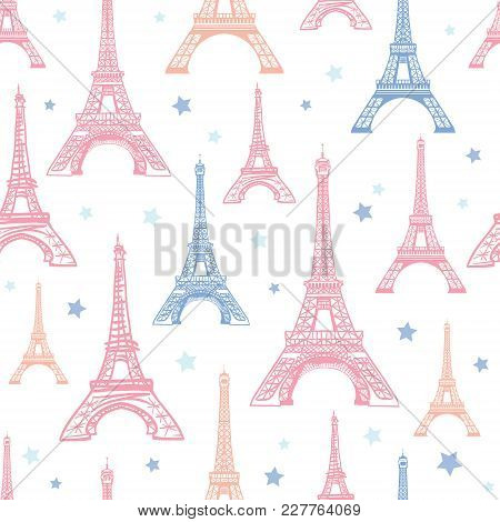 Vector Pink Blue Eifel Tower Paris and Flowers Seamless Repeat Pattern Surrounded By Stars. Perfect for travel themed postcards, greeting cards, invitations, packaging. Surface pattern. poster