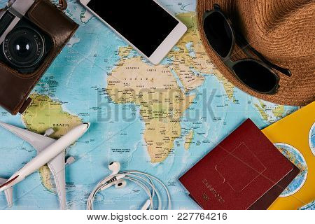 Passport, Photo Camera, Smart Phone, Sunglasses, Straw Hat And Travel Map, Traveler Items Vacation T