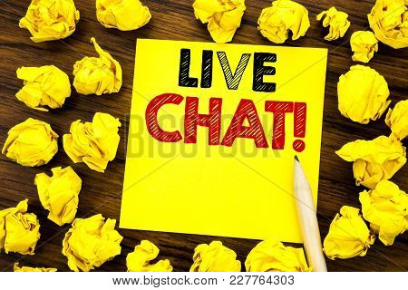 Writing Text Showing Live Chat . Business Concept For Communication Livechat Written On Sticky Note