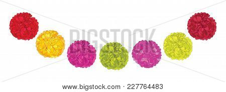 Vector Set Of Cute Red, Pink, And Yellow Birthday Party Paper Pom Poms. Great For Handmade Cards, In