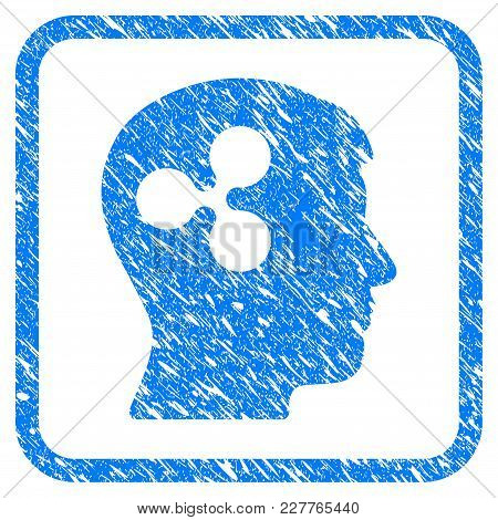 Ripple Brain Rubber Seal Stamp Watermark. Icon Vector Symbol With Grunge Design And Dust Texture In