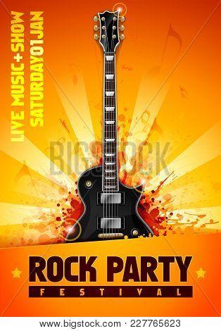 Vector Illustrtion Orange Rock Party Festival Flyer Design Template With Black Guitar And Cool Splas