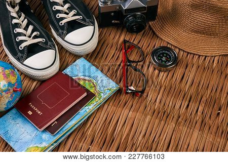 Summer Vacation, Travel, Tourism And Objects Concept. Passport Travel Document Photo Camera Sunglass