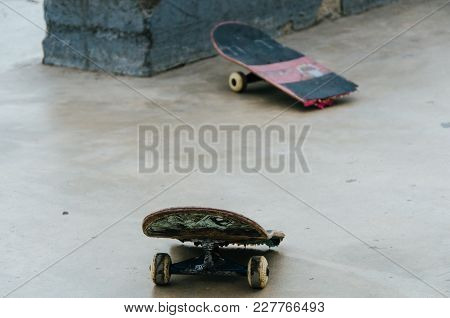 Broken Skateboard In The Miraflores Skatepark, Lima - Peru