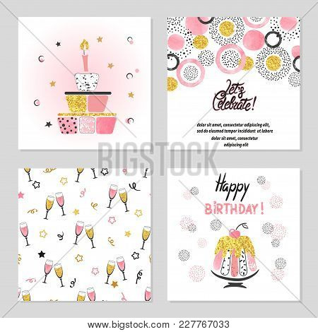 Happy Birthday Cards Set In Pink And Golden Colors. Celebration Vector Illustrations With Birthday C