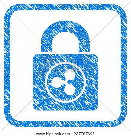 Ripple Lock Rubber Seal Stamp Imitation. Icon Vector Symbol With Grunge Design And Corrosion Texture