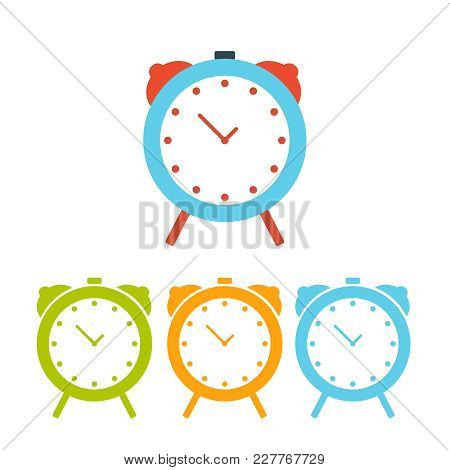 A Lot Of Colored Alarm Clocks, Isolated On A White Background. Vector Drawing Of A Watches. Vector I