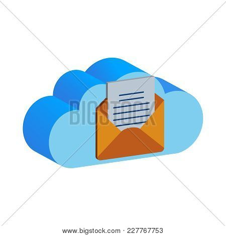 Cloud Vector Folder. A Cloud Backup Data Folder In Flat Vector Icon. A Blue Cloud And Yellow Folder,