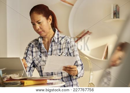 Old People, Tax Return And Home Banking. Angry Senior Lady Paying Federal Income Taxes, Doing Family