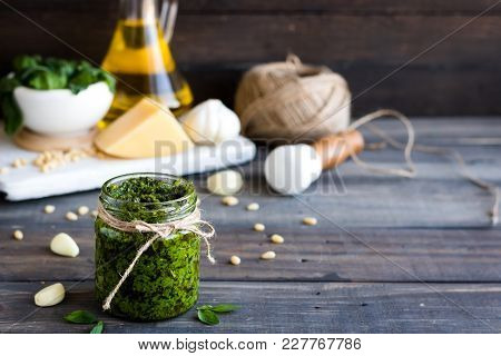 Fresh Homemade Pesto Sauce And Ingredients To It