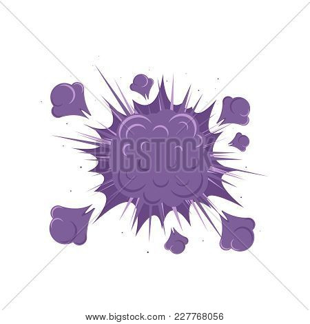 A Purple Explosion Icon With Smoke In Cartoon Style Isolated On White Background. An Explosion Or Bo
