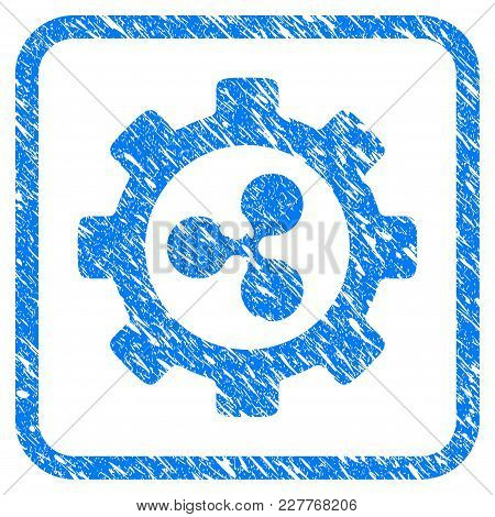 Ripple Options Gear Rubber Seal Stamp Watermark. Icon Vector Symbol With Grunge Design And Unclean T