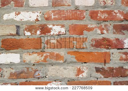 High Quality Brick Wall Texture. Ancient Natural Brick Road As Background.