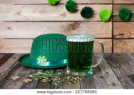 St. Patrick's Mug Of Green Beer With Fun Decoration