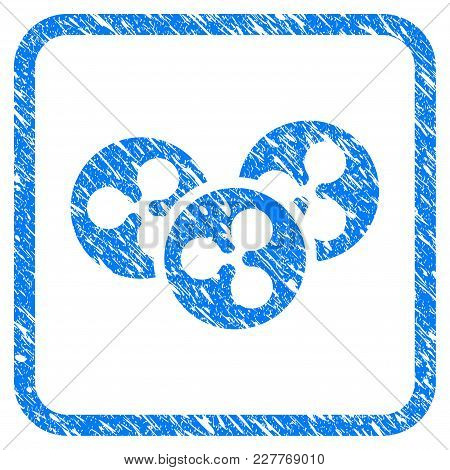 Ripple Coins Rubber Seal Stamp Watermark. Icon Vector Symbol With Grunge Design And Unclean Texture
