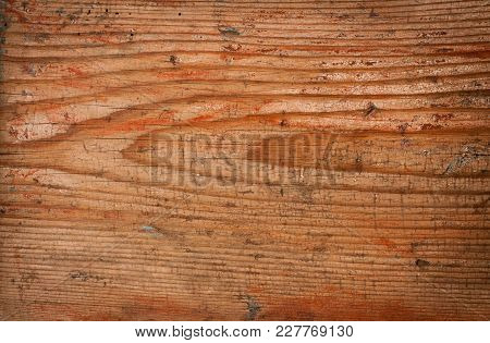 Old Red Grunge Wooden Natural Background With Aged Paint