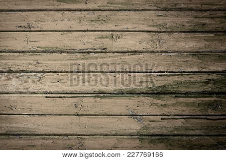 Grunge Wooden Natural Background With Old Brown Planks. Abstract Empty Template