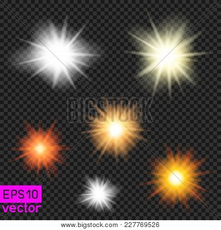 Set Of Vector Suns Or Lamps Light Template On Dark Transparent Background. Make Your Photos Sunny. P