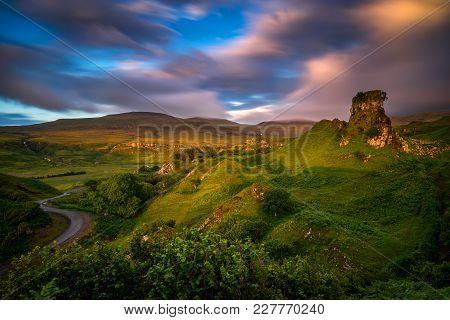 Sunset Clouds Over Fairy Glen Hills, Isle Of Skye, Scotland
