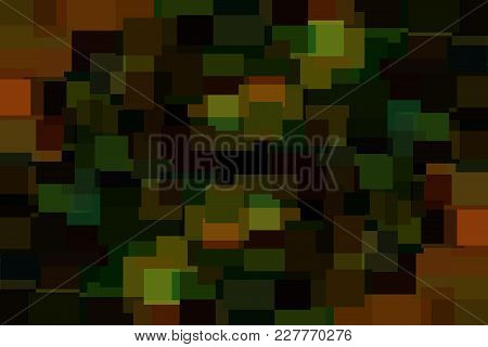 Dark Green And Brown Abstract Polygonal Background Made Of Rectangles