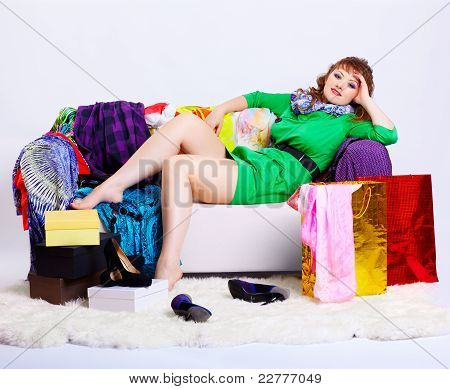 Shopaholic Woman With Purchases