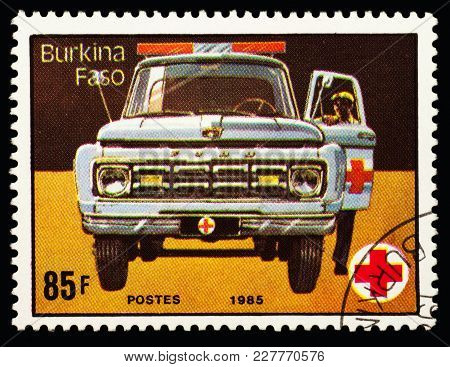 Moscow, Russia - February 21, 2018: A Stamp Printed In Burkina Faso (upper Volta) Shows Ambulance Ca