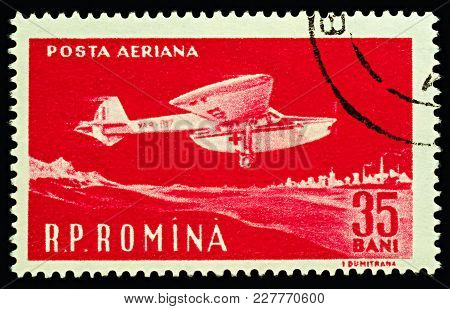 Moscow, Russia - February 20, 2018: A Stamp Printed In Romania Shows Ambulance Airplane, Red Cross A