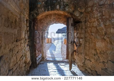 Exit To The Sea From The Old Fortress In The Old Town In Budva