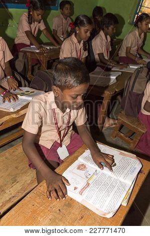 Pondichery, Puduchery, India - Stepember 04, 2017. Unidentified Children Boys Girls With School Unif
