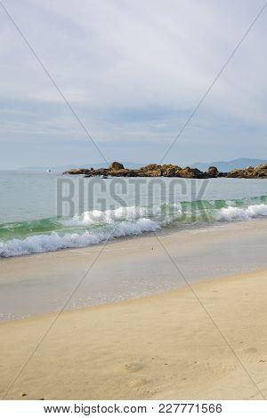 Waves On Sandy Beach Samil In Vigo, Vigo, Galicia, Spain