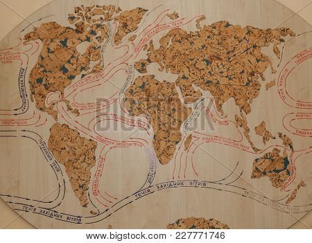 Climate And Streams In Europe, Asia, Africa And Australia Old Map. Map Of World Currents On A Tree.