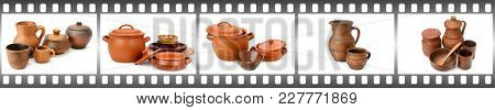 Clay, ceramic tableware isolated on white background in frame in form film.
