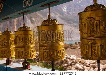 Buddhist Prayer Wheel With Mantras In Himalayas. Annapurna Circuit Trekking. Nepal.