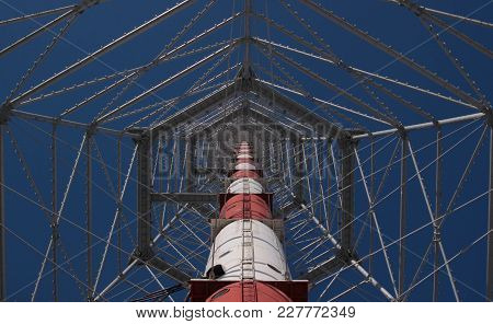 Telecommunication Tower, View From The Bottom. Tower For Broadcasting Radio, Tv Signals And To Insta