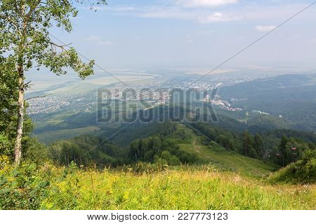 Beautiful Summer View From Mount Tserkovka To The Resort Of Belokurikha In The Altai Krai