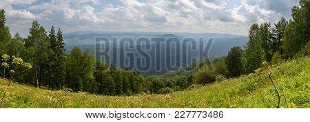 Panorama From The Top Of Mount Tserkovka In The Summer Resort Of Belokurikha In Altai Krai