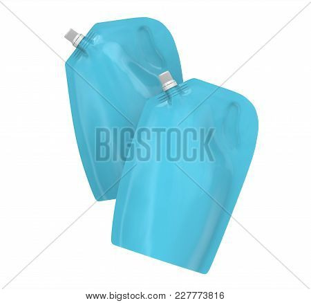 Detergent Refill Package, 3d Render Light Blue Stand-up Pouch Bag Mockup Set With Cap Floating In Th