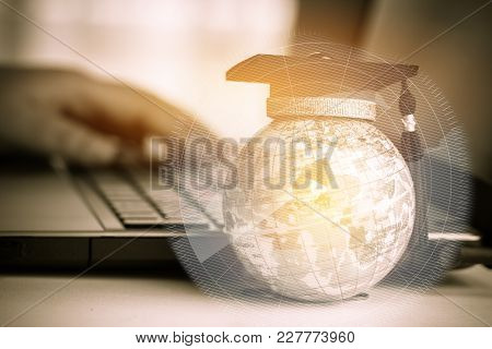 Graduate Study Abroad Concept, Graduation Cap On Top Earth Globe Model Map With Radar Background. Gr