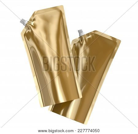 Detergent Refill Package, 3d Render Champagne Gold Stand-up Pouch Bag Mockup Set With Cap Floating I