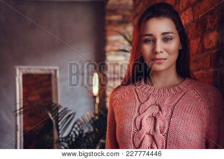 Portrait Of A Beautiful Charming Brunette Dressed In Stylish Clothes Leaning Against A Brick Wall In
