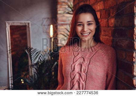 Portrait Of A Beautiful Charming Brunette Dressed In Stylish Clothes Smiling While Leaning Against A