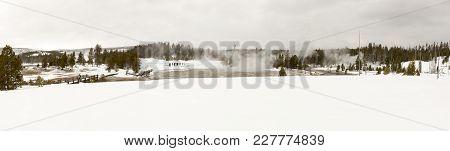 Tourists On Boardwalk In Upper Geyser Basin, Yellowstone National Park