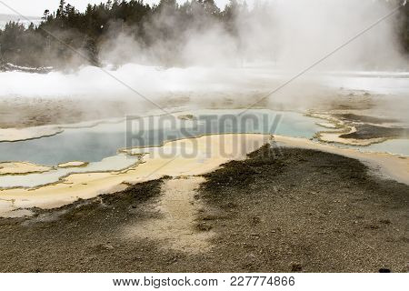Steaming Spring Rock Formation In Upper Geyser Basin, Yellowstone National Park