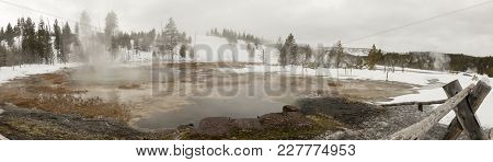 Panorama Of Steaming Hot Spring In Upper Geyser Basin, Yellowstone National Park