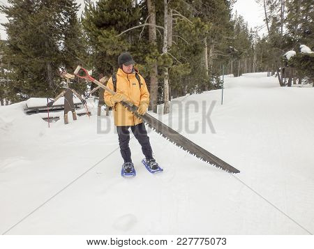 Man With Snow Saw, Yellowstone National Park