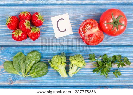 Fresh Fruits And Vegetables Containing Vitamin C And Fiber, Concept Of Healthy Food And Strengthenin