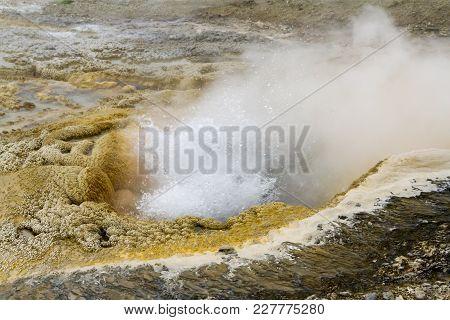 Bubbles Of Erupting Geyser In Upper Geyser Basin, Yellowstone National Park