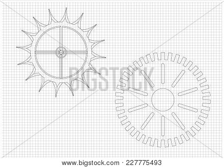 Black Cogwheels On A White Background. Drawing.